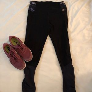 Black Leggings with Navy Camo Accent